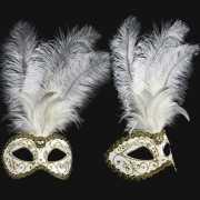Luxueus italiaans veren oogmasker wit met goud