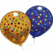 Blauwe en gele stipjes ballonnen 8 stuks