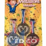 Medailles drie kleuren 6 cm