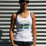 Zweedse vlag tanktop/ t shirt voor dames