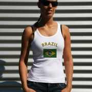 Brasiliaanse vlag tanktop/ t shirt voor dames