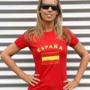 Dames t shirt met de Spaanse vlag