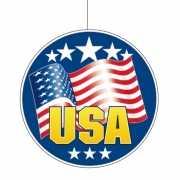 Hangdecoratie met de Amerikaanse vlag 28 cm