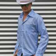 Blauwe geruite cowboy blouse voor heren