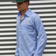 Blauwe geruite Tiroler blouse voor heren