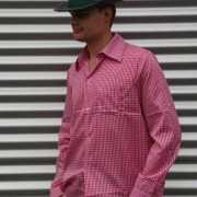 Roze geruite Tiroler blouse voor heren