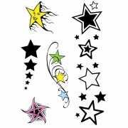 Plak sterren tattoo set 5 stuks