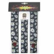 Zwarte bretels met bloemen Edelweiss