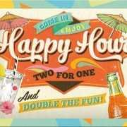 Tinnen plaatje Happy Hour 15 x 20 cm