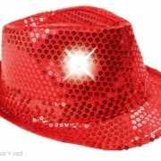 Glitter hoed rood met LED verlichting