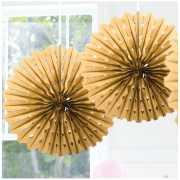 Honeycomb waaiers goud 45 cm