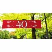 Rode banner 40 jaar 180 x 40 cm