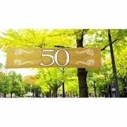 Gouden banner 50 jaar 180 x 40 cm