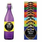 Decoratie etiketten voor flessen 12 stuks