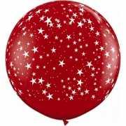 Grote rode ballon met sterren 90 cm