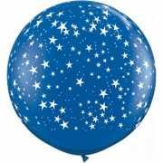 Grote blauwe ballon met sterren 90 cm