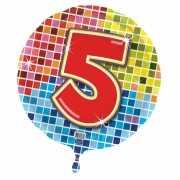 Gekleurde folie ballon 5 jaar