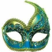 Blauw en goud Venetiaans oogmasker