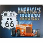 Emaille plaat van Route 66 US met Americas s Highway