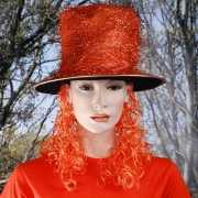 Oranje glitterhoed met pruik