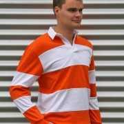 Rugbyshirt oranje gestreept