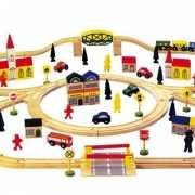Grote houten spoorbaan