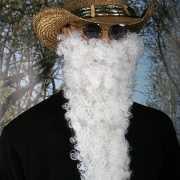 Lange witte baard gekruld