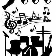 Muursticker muziekfeest 74 x 51 cm