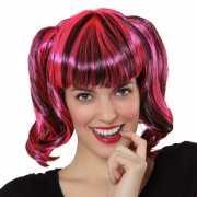Zwart met roze pruik voor dames