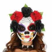 Dames doodskop maskers met spinnenweb en bloemen decoratie