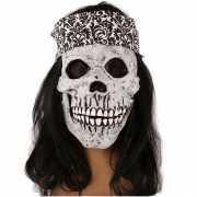 Rockers schedel met lang haar en haarband