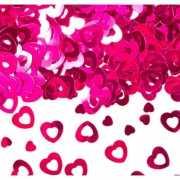 Roze glimmende hartjes confetti 30 gr