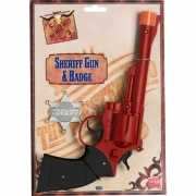 Cowboy revolver met zilveren badge