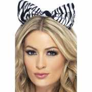 Strik op haarband met zebra print