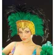 Grote luxe hoofdtooi met veren groen