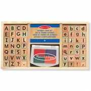 Alfabet stempelset van hout