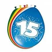 Gekleurde ballonnen 15 jaar 8 stuks