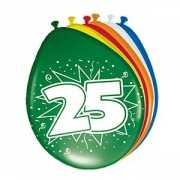 Gekleurde ballonnen 25 jaar 8 stuks