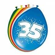 Gekleurde ballonnen 35 jaar 8 stuks