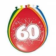 Gekleurde ballonnen 60 jaar 8 stuks