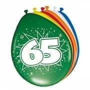 Gekleurde ballonnen 65 jaar 8 stuks