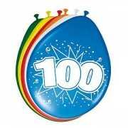 Gekleurde ballonnen 100 jaar 8 stuks