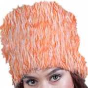 Oranje bontmuts van pluche