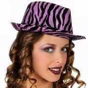 Feesthoeden paars zebra