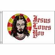 Vlag met tekst Jesus loves you