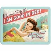 Retro muurplaatje Good in Bed 15 x 20 cm