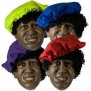 Gekleurde zwarte Piet baret voor volwassenen