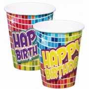 Kartonnen Happy Birthday bekers