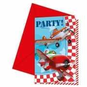 Uitnodigingen kinderfeestje Planes 6 stuks