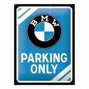 Tinnen plaat BMW parking only 15 cm